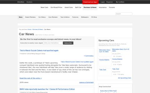 Screenshot of Press Page carwale.com - Car News - Latest Indian Car News & Views   CarWale - captured July 21, 2014