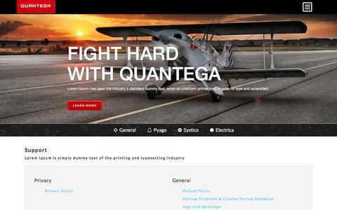 Screenshot of Support Page quantega.com - Support - Quantega - captured Jan. 15, 2016