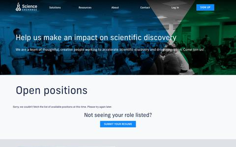 Screenshot of Jobs Page scienceexchange.com - Science Exchange - Order experiments from the world's best labs - captured Feb. 7, 2019