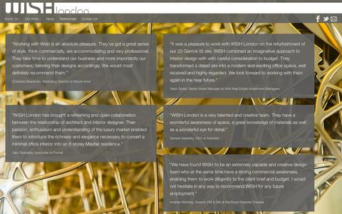 Screenshot of Testimonials Page wish-london.co.uk - Testimonials - WISH London - Interior Architecture & Design - captured Oct. 7, 2014
