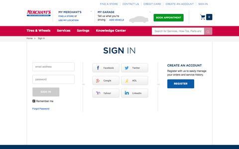 Screenshot of Login Page merchantstire.com - Merchant's Tire | Sign In - captured Oct. 18, 2017