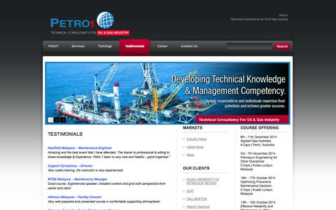 Screenshot of Testimonials Page petro1.org - Testimonials «  PETRO1 – Consultancy services & Trainings for oil & gas - captured Sept. 27, 2014
