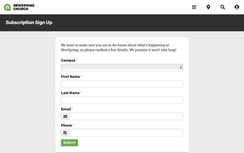 Screenshot of Signup Page newspring.cc - Subscription Sign Up | Forms | NewSpring Church - captured July 12, 2019
