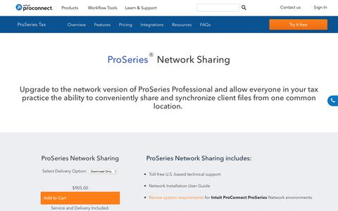 Screenshot of intuit.com - ProSeries - NetworkSharing - captured April 24, 2018