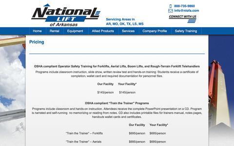 Screenshot of Pricing Page nlofa.com - NLA, Forklift Training, Forklift Sales, Boom Lift Rental, Sales, Scissor Lift Rental, Sales, AWP Rental, sales, Telehandler, Sale, Service, Parts - captured Oct. 18, 2018