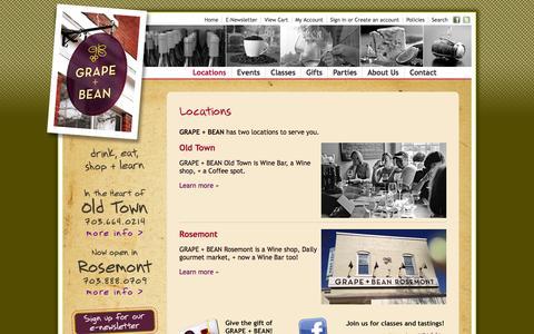 Screenshot of Locations Page grapeandbean.com - Eat • wine and tasting bar + gourmet retail products • Grape + Bean - captured Oct. 3, 2014