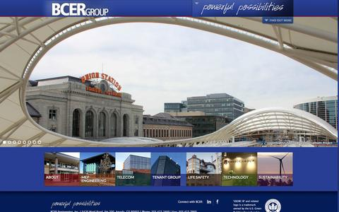 Screenshot of Home Page bcer.com - BCER GROUP Engineering | Powerful Possibilities | Colorado-based, Denver, Front Range - captured Oct. 4, 2014