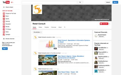 Screenshot of YouTube Page youtube.com - Retail Consult  - YouTube - captured Nov. 3, 2014