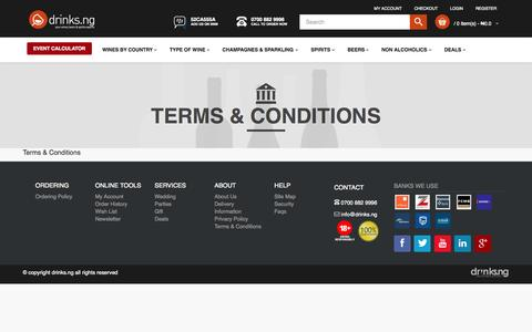 Screenshot of Terms Page drinks.ng - Terms & Conditions - captured Oct. 2, 2015