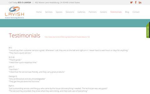 Screenshot of Testimonials Page lavishautomation.com - Showroom - captured July 19, 2017