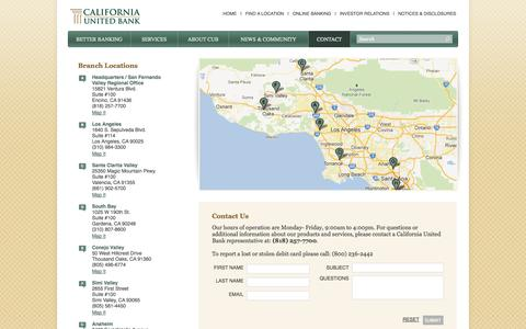 Screenshot of Contact Page Locations Page californiaunitedbank.com - California United Bank - Locations - captured Oct. 22, 2014
