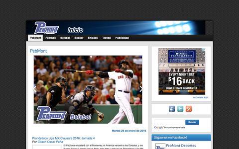 Screenshot of Home Page pebmont.com - PebMont Deportes. » Portal dedicado a los deportes - captured Jan. 26, 2016