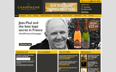 Screenshot of Home Page champagnewarehouse.com - Champagne Warehouse - Buy Champagne & Gifts online - captured Sept. 29, 2014