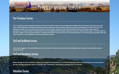 Screenshot of Services Page marinesurveysolutions.eu - Types of Marine Survey | Marine Survey Solutions - captured Sept. 30, 2014