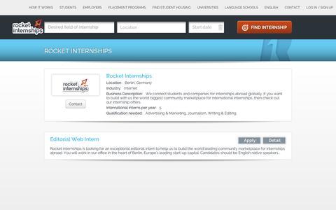 Screenshot of Jobs Page rocketinternships.com - Internships at  Rocket Internships - captured Jan. 2, 2017