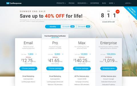 Screenshot of Pricing Page getresponse.com - Pricing options - email marketing - GetResponse - captured Aug. 21, 2018