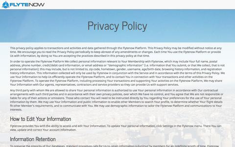 Screenshot of Privacy Page flytenow.com - Privacy Policy - Flytenow - captured Sept. 16, 2014