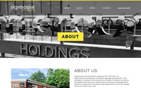 Screenshot of About Page thesignhouse.com - Retail Signage | Sign Company | About | The Signhouse - captured Oct. 18, 2018