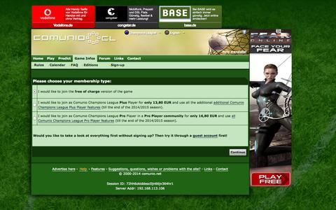 Screenshot of Signup Page comunio-cl.com - football manager, soccer manager, fantasy football, Champions League manager - captured Oct. 30, 2014