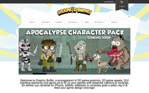 Screenshot of Home Page graphic-buffet.com - Vector game graphics and 2D game art assets for Indie game developers - captured Sept. 22, 2014