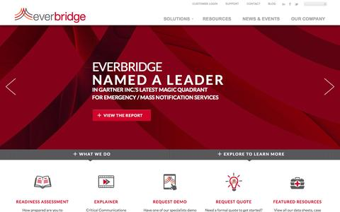 Screenshot of Home Page everbridge.com - Everbridge - Unified Critical Communication Suite - Mass Notification - captured Sept. 16, 2014