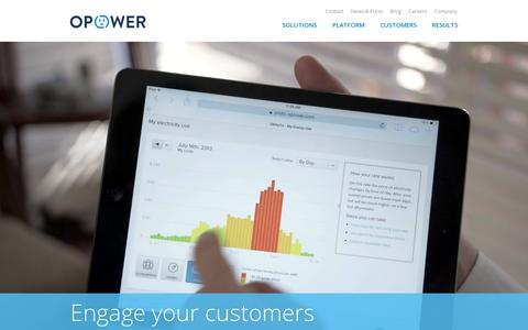 Screenshot of Home Page opower.com - Opower - captured July 17, 2014