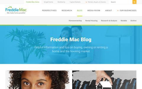 Screenshot of Blog freddiemac.com - Freddie Mac Blog - captured Sept. 19, 2018