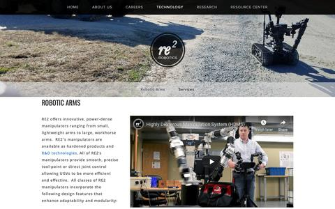 Screenshot of Products Page resquared.com - Robotic Arms — RE2 Robotics - captured Oct. 18, 2018