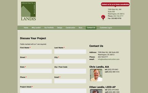Screenshot of Contact Page landisconstruction.com - Contact Us | Landis Construction - captured Oct. 1, 2014