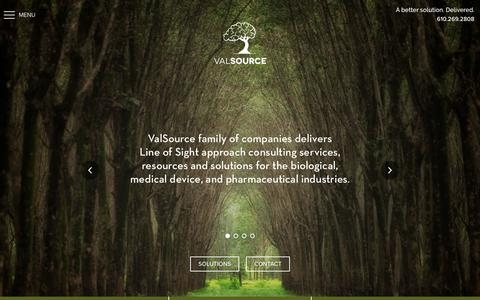 Screenshot of Home Page valsource.com - Home - ValSource - captured Oct. 18, 2018