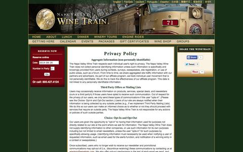 Screenshot of Privacy Page winetrain.com - Privacy Policy | Napa Valley Wine Train - captured Sept. 24, 2014