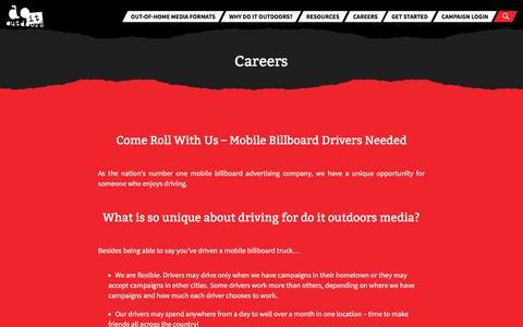 Screenshot of Jobs Page doitoutdoors.com - Careers - do it outdoors media | Driver Careers | Drivers Wanted - captured Aug. 8, 2018