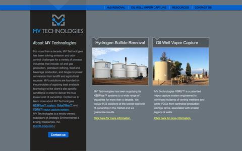 Screenshot of Home Page mvseer.com - Emissions and odor control solution systems | Golden, CO - captured Jan. 23, 2015