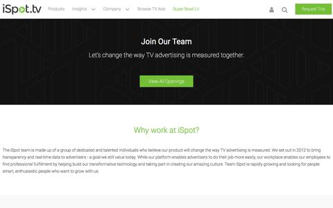 Screenshot of Jobs Page ispot.tv - Come work with us - iSpot.tv - captured Jan. 14, 2018