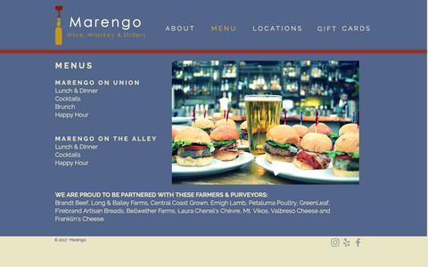 Screenshot of Menu Page marengosf.com - Marengo Menu - captured Oct. 5, 2017