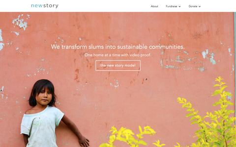 Screenshot of Home Page newstorycharity.org - New Story - Transforming Slums into Sustainable Communities - captured March 15, 2016
