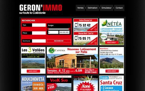 Screenshot of Home Page geronimmo.nc - Sur toute la calŽdonie - GŽron'immo - captured Dec. 8, 2015
