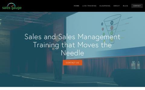 Screenshot of Home Page sales-gauge.com - Sales Gauge Sales Training - captured July 21, 2016