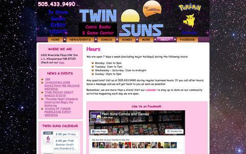Screenshot of Hours Page twinsunscomics.com - Hours | Twin Suns Comic Books & Game Center - captured Jan. 6, 2017