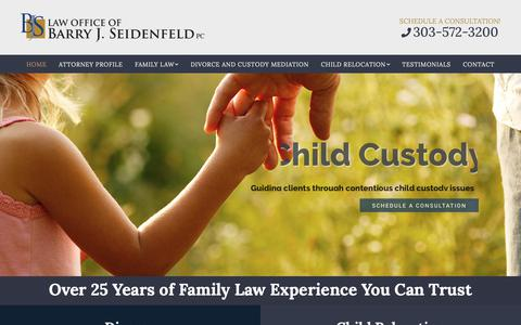 Screenshot of Home Page seidenfeldlaw.com - Barry Seidenfeld – Seidenfeld Law – 25 Years of Family Law Experience You Can Trust - captured Oct. 5, 2018