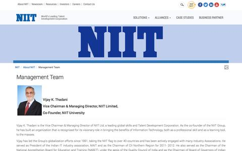 Screenshot of Team Page niit.com - Management Team - captured April 18, 2017