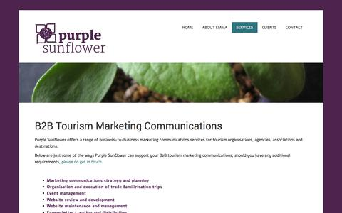 Screenshot of Services Page purplesunflower.com - B2B Tourism Marketing Communications | Purple Sunflower - captured Oct. 3, 2014