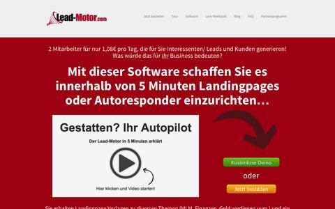 Screenshot of Home Page lead-motor.com - Lead-Motor - Landing Page & E-Mail-Marketing Software — Leadgenerierung - captured Sept. 19, 2014