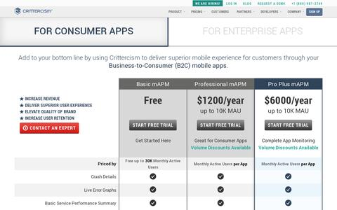 Screenshot of Pricing Page crittercism.com - Pricing | Crittercism - captured July 20, 2014