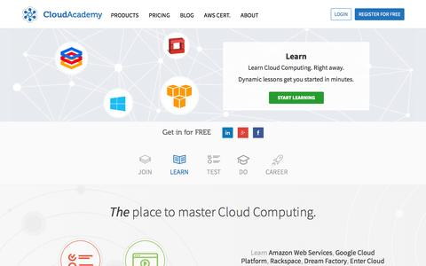 Screenshot of Home Page cloudacademy.com - Cloud Academy: Learn Cloud Computing, Test your Skills and get a Certification - captured Sept. 19, 2014