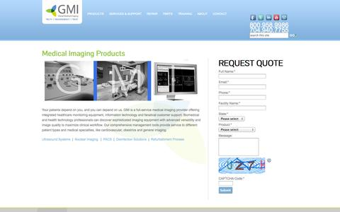 Screenshot of Products Page gmi3.com - Medical Imaging Products - Global Medical Imaging - captured Oct. 2, 2014