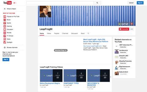 Screenshot of YouTube Page youtube.com - LeapFrogBI  - YouTube - captured Nov. 1, 2014