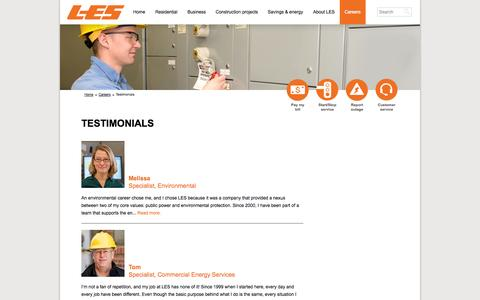 Screenshot of Testimonials Page les.com - Testimonials - captured Sept. 24, 2014