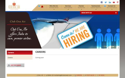 Screenshot of Jobs Page cluboneair.com - Careers :: Club One Air - captured May 18, 2017