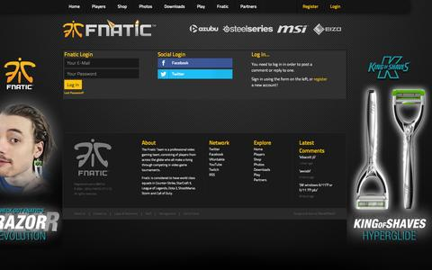 Screenshot of Login Page fnatic.com - FNATIC.com - captured Nov. 3, 2014